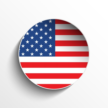 Vector - USA Flag Paper Circle Shadow Button Vector