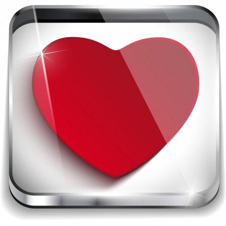 application button: Valentine Day Glossy Application Button Heart Illustration