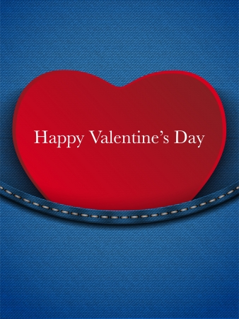 Vector - Valentines Day Heart in Jeans Pocket Vector
