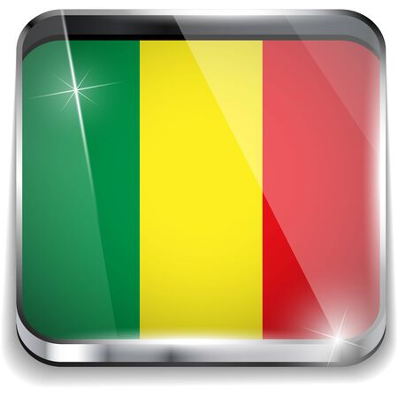 Mali Flag Smartphone Application Square Buttons Vector