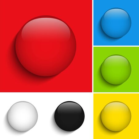 Vector - Set of Colorful Glass Circle Shiny Buttons Vector