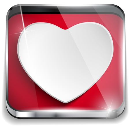 Vector - Valentine Day Glossy Application Button Heart Stock Vector - 17302909