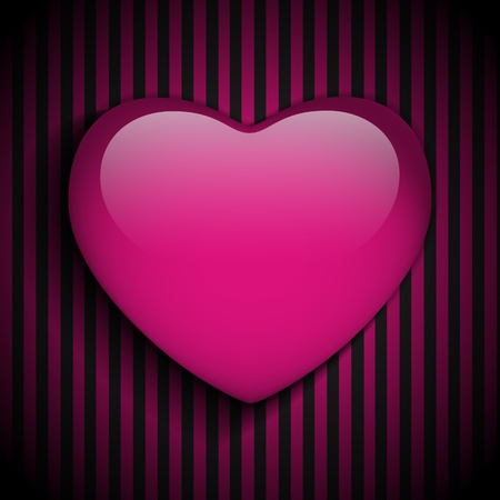 Vector - Glossy Emo Heart. Pink and Black Stripes Vector