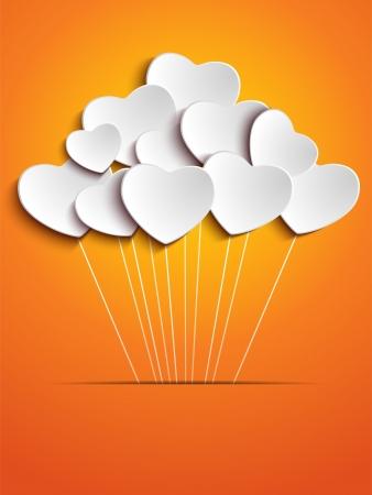 오렌지: 오렌지 배경에 발렌타인 데이 하트 풍선