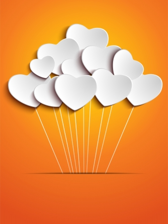 Valentines Day Heart Balloons on Orange Background Vector
