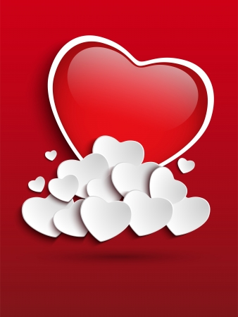 Vector - Valentines Day Heart Clouds Vector