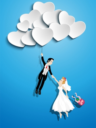 cartoon wedding: Vector - Just married couple flying with a heart shaped balloon