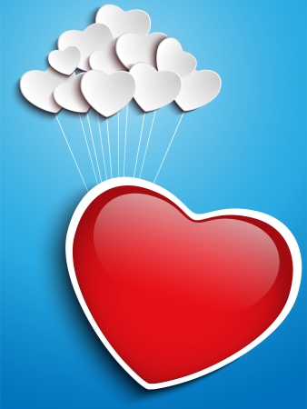 Vector - Valentines Day Heart Floating with Heart Balloons Vector