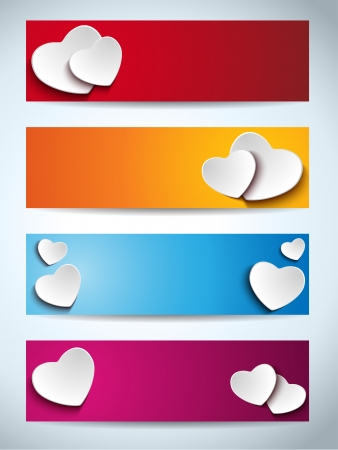 Valentines Day Set of Four Web Banners Vector