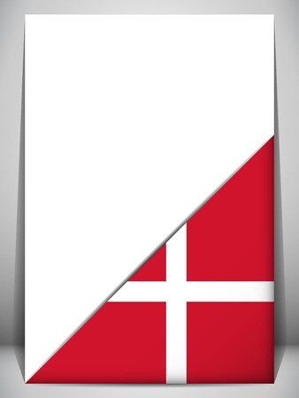 Denmark Country Flag Turning Page Vector