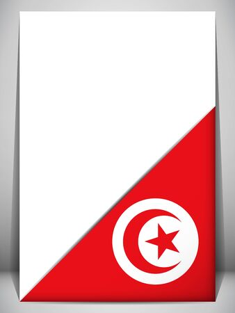 Tunisia Country Flag Turning Page Illustration