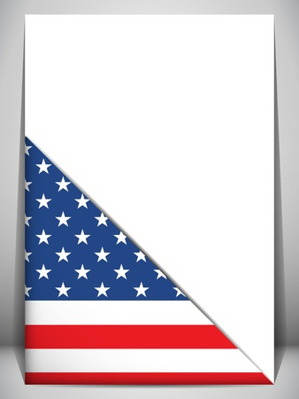 patriotic border: USA Country Flag Turning Page Illustration