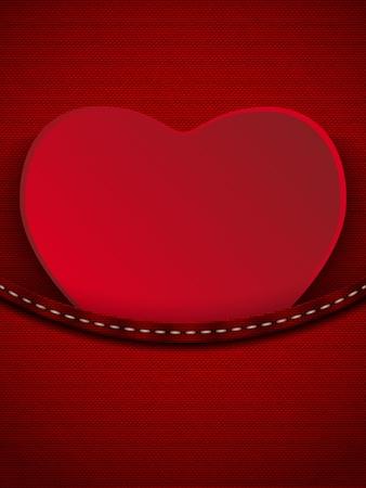 jeans pocket: Vector - Valentines Day Heart in Jeans Pocket Illustration