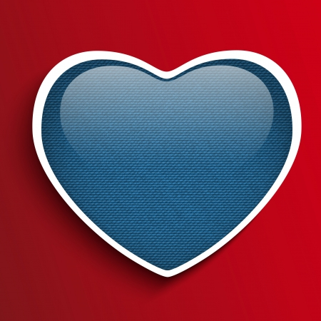 Vector - Valentines Day Heart in Jeans Texture Vector