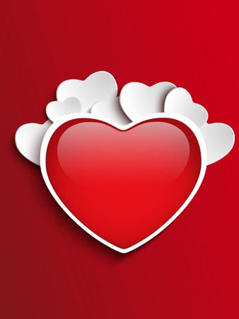 Vector - Valentines Day Heart on Red Background Vector