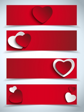 Vector - Valentines Day Set of Four Web Banners Stock Vector - 17302925