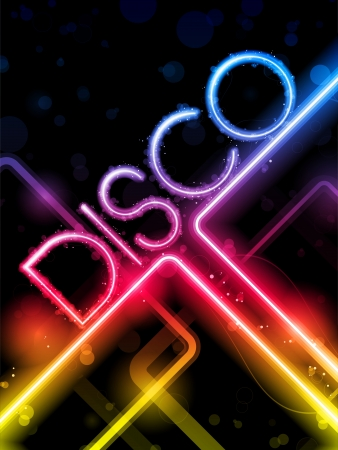 Disco Abstract Colorful Lines on Black Background Vector