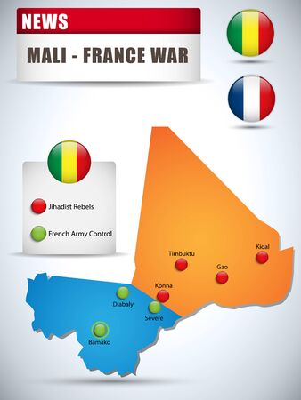 tyrant:  Mali - France War Map Infographic with Glossy Buttons