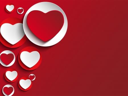 화이트 버튼에 발렌타인 데이 하트 일러스트