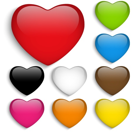 Vector - Set Glass Colorful Glossy Heart Vector