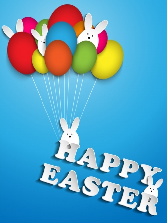 Vector - Happy Easter Rabbit Ballons Eggs Vector
