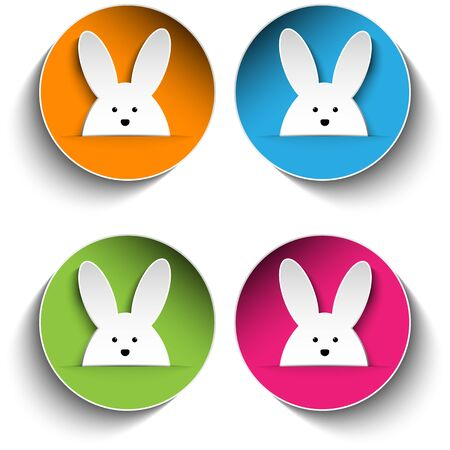 Vector - Set of Four Happy Easter Bunny Stickers Vector