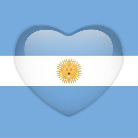 Vector - Argentina Flag Heart Glossy Button Illustration