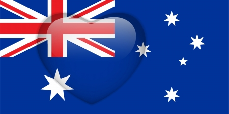 Vector - Australia Flag Heart Glossy Button Vector