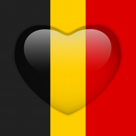 Vector - Belgium Flag Heart Glossy Button Vector
