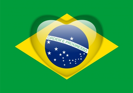 Vector - Brazil Flag Heart Glossy Button Vector