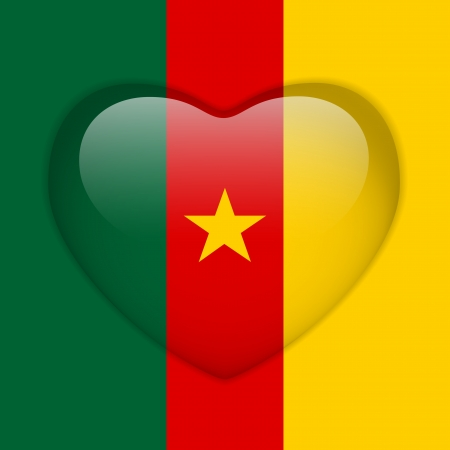 cameroon: Vector - Cameroon Flag Heart Glossy Button