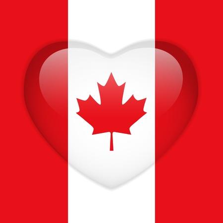 벡터 - 캐나다 깃발 심장 광택 단추