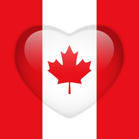 Vector - Canada Flag Heart Glossy Button Illustration