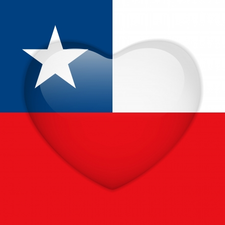 Vector - Chile Flag Heart Glossy Button Stock Vector - 18019402