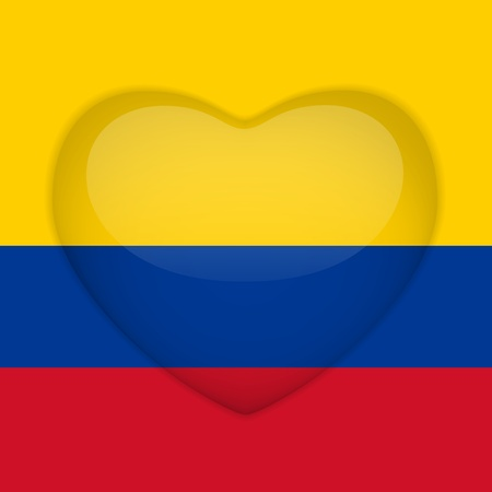 colombia flag: Vector - Colombia Flag Heart Glossy Button