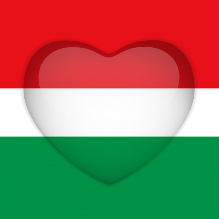 Vector - Hungary Flag Heart Glossy Button Vector