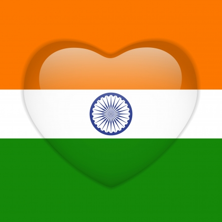 Vector - India Flag Heart Glossy Button Vector