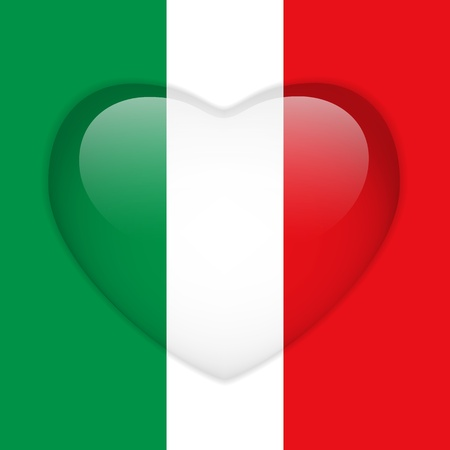 national colors: Vector - Italy Flag Heart Glossy Button