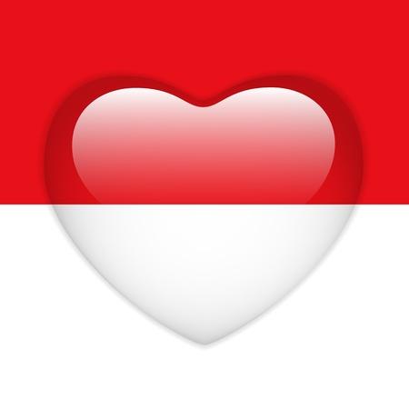 monegasque: Vector - Monaco Flag Heart Glossy Button