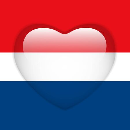 Vector - Netherlands Flag Heart Glossy Button Stock Vector - 18019340