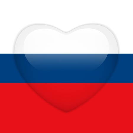 Vector - Russia Flag Heart Glossy Button Vector