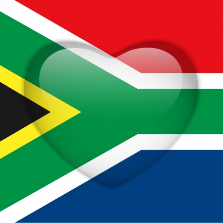 Vector - South Africa Flag Heart Glossy Button Vector