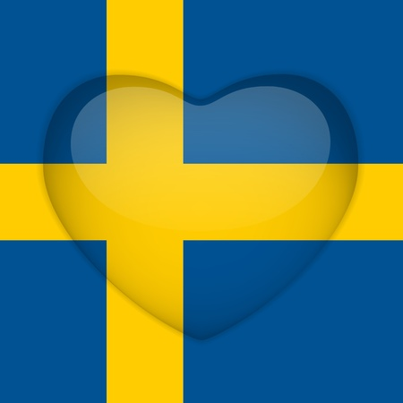 sweden flag: Vector - Sweden Flag Heart Glossy Button Illustration