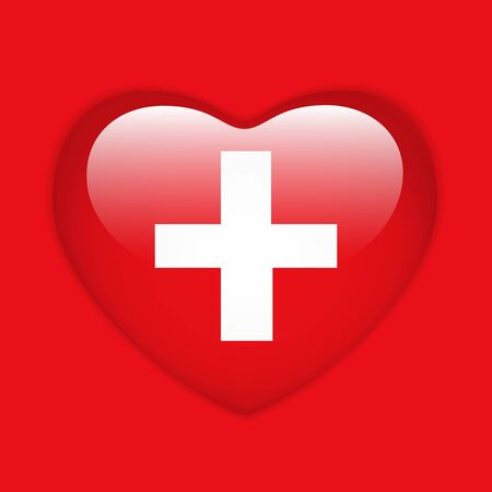 swiss insignia: Vector - Switzerland Flag Heart Glossy Button