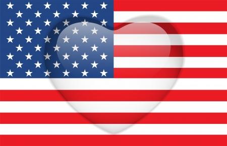 continente americano: Vector - Estados Unidos Bandera Corazón Botón brillante Vectores