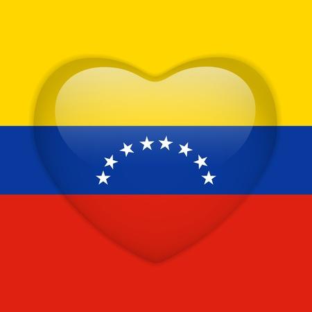 Vector - Venezuela Flag Heart Glossy Button Vector