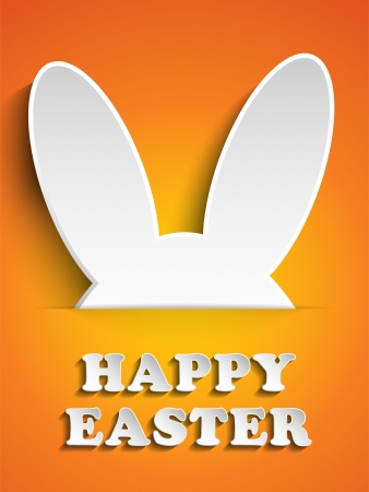 cartoon easter: Vector - Happy Easter Rabbit Bunny on Orange Background Illustration