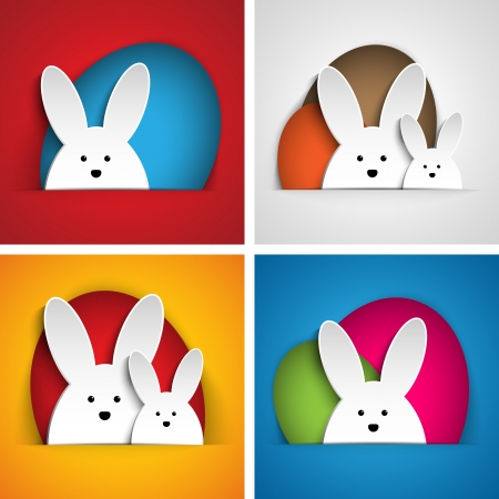 Vector - Happy Easter Rabbit Bunny on Orange Background Vector