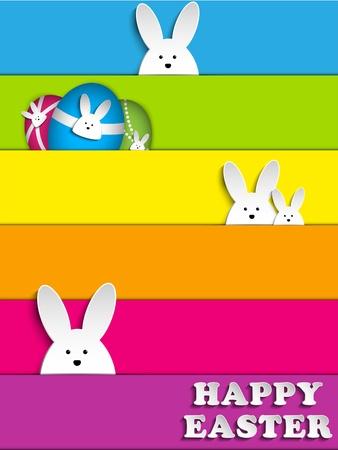 easter bunny: Vector - Happy Easter Rabbit Bunny on Rainbow Background Illustration