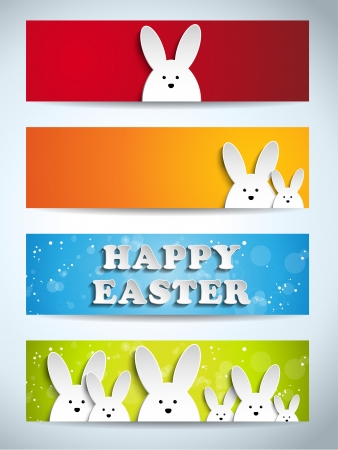 Vector - Happy Easter Rabbit Bunny Set of Banners Vector